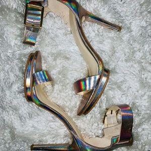 Calvin Klein gold ankle strap heels